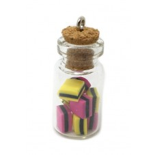 Breloque Fiole en Verre Bonbons Réglisse Gourmandise Fimo 25mm