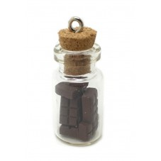 Breloque Fiole en Verre Tablette Chocolat Gourmandise Fimo 25mm