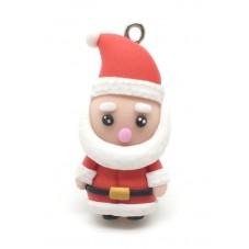 Breloque Père-Noël Personnage Fait-Main Fimo 35mm pour la Création de Bijoux Fantaisie - DIY