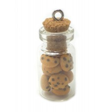Breloque Fiole en Verre Cookies Gourmandise Fimo 25mm