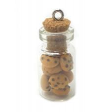 Breloque Fiole en Verre Cookies Gourmandise Fimo 25mm pour la Création de Bijoux Fantaisie - DIY