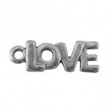 """6 Breloques """"Love"""" Argenté 22x8mm"""