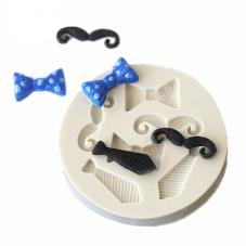 Moule en Silicone Noeud Cravate Moustache Papa 5,7x2,4cm Résine Fimo Gâteau