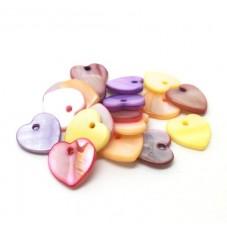 5 Breloques Coeur en Nacre Multicolore 12mm