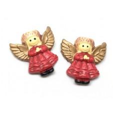 2 Cabochons Ange de Noël Rouge en Résine 25mm pour la Création de Bijoux Fantaisie - DIY