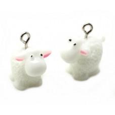 2 Breloques Mouton en Résine 20x15mm