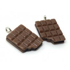2 Breloques Tablette de Chocolat en Résine 17x14mm pour la Création de Bijoux Fantaisie - DIY