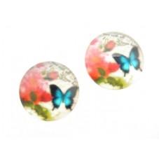 2 Cabochons en Verre Illustrés Papillon Vintage 14mm