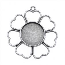 2 Supports Pendentif Fleur Argenté pour Cabochon 14mm
