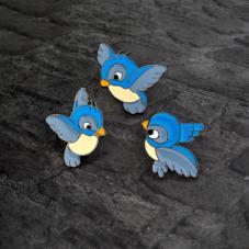 3 Pins Broche Oiseaux en Émail