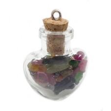 Breloque Pendentif Fiole Coeur Pierre Naturelle 25mm pour la Création de Bijoux Fantaisie - DIY