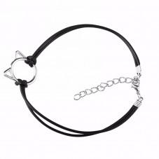 Bracelet en Cordon Ciré Tête de Chat