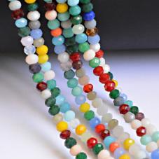 145 Perles à Facettes en Verre Multicolores 4mm