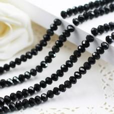 145 Perles à Facettes Noires en Verre 3x4mm pour la Création de Bijoux Fantaisie - DIY