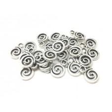 10 Breloques Spirale Argentée 11x8mm pour la Création de Bijoux Fantaisie - DIY