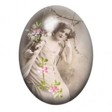 Cabochon en Verre Illustré Femme sur Balançoire Vintage 13x18, 18x25 ou 30x40mm pour la Création de Bijoux Fantaisie - DIY
