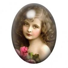Cabochon en Verre Illustré Petite Fille Vintage 30x40mm