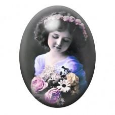 Cabochon en Verre Illustré Petite Fille Vintage 13x18, 18x25 ou 30x40mm pour la Création de Bijoux Fantaisie - DIY