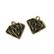 2 Breloques Diamant Métal Émaillé Doré 15mm