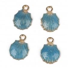 2 Breloques Coquillage Émaillé Doré Bleu 13x19mm pour la Création de Bijoux Fantaisie - DIY
