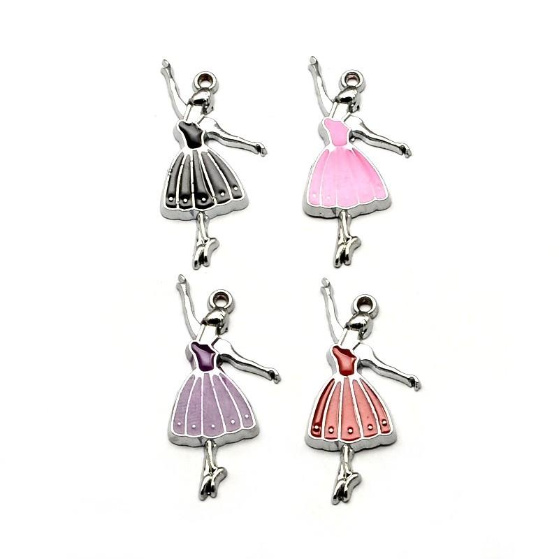4 Breloques Ballerine Danseuse Tutu en Émail 32mm