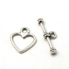 5 Fermoirs Toggle pour Bracelet Coeur Argenté 12x14mm
