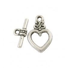 5 Fermoirs Toggle pour Bracelet Coeur Argenté 21x13mm