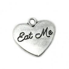 """2 Breloques Coeur """"Eat Me"""" Alice au Pays des Merveilles 19x21mm"""