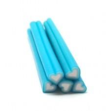 5 Canes Coeur Bleu en Pâte Polymère 5cm