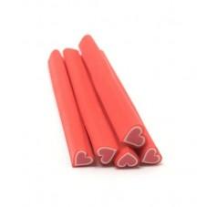 5 Canes Coeur Rouge en Pâte Polymère 5cm pour la Création de Bijoux Fantaisie - DIY