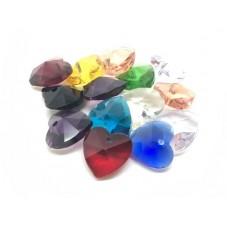 4 Breloques Coeur en Verre Multicolore 14mm