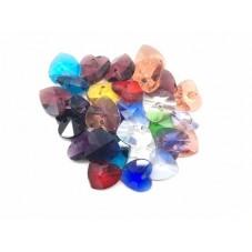 5 Breloques Coeur en Verre à Facette Multicolore 10mm pour la Création de Bijoux Fantaisie - DIY