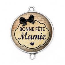 """Connecteur Cabochon en Résine """"Bonne Fête Mamie"""" 25mm pour la Création de Bijoux Fantaisie - DIY"""