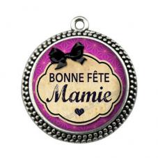 """Pendentif Cabochon en Résine """"Bonne Fête Mamie"""" 25mm pour la Création de Bijoux Fantaisie - DIY"""
