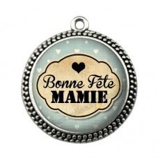 """Pendentif Cabochon en Résine """"Je t'aime Mamie"""" 25mm pour la Création de Bijoux Fantaisie - DIY"""