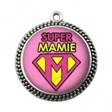 """Pendentif Cabochon en Résine """"Super Mamie"""" 25mm"""