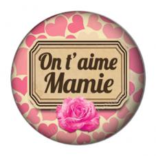 """Cabochon en Résine à Coller """"On t'aime Mamie"""" 25mm pour la Création de Bijoux Fantaisie - DIY"""