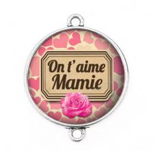"""Connecteur Cabochon en Résine """"On t'aime Mamie"""" 25mm"""