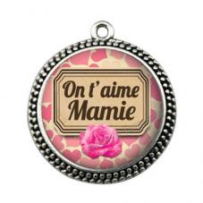 """Pendentif Cabochon en Résine """"On t'aime Mamie"""" 25mm"""
