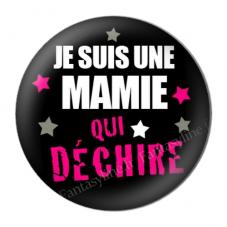 """Cabochon en Résine à Coller """"Je suis une Mamie qui Déchire"""" 25mm"""