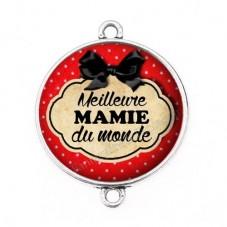 """Connecteur Cabochon en Résine """"Meilleure Mamie du Monde"""" 25mm"""