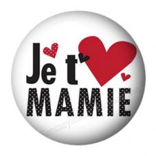 """Cabochon en Résine à Coller """"Je t'aime Mamie"""" 25mm pour la Création de Bijoux Fantaisie - DIY"""