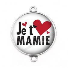"""Connecteur Cabochon en Résine """"Je t'aime Mamie"""" 25mm pour la Création de Bijoux Fantaisie - DIY"""