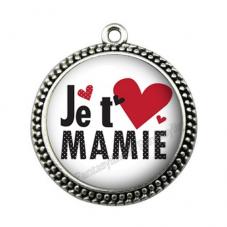 """Pendentif Cabochon en Résine """"Je t'aime Mamie"""" 25mm"""