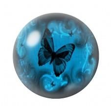 Cabochon en Verre Illustré Papillon 25mm
