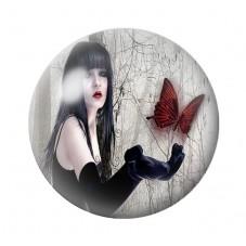 Cabochon en Verre Illustré Femme Papillon Gothique 12 à 25mm pour la Création de Bijoux Fantaisie - DIY