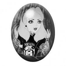 Cabochon en Verre Illustré Alice au Pays des Merveilles Gothique 30x40mm