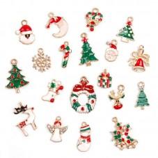 19 Breloques Noël en Métal Doré
