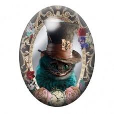 Cabochon en Verre Illustré Chat du Cheshire Alice 13x18, 18x25 ou 30x40mm pour la Création de Bijoux Fantaisie - DIY
