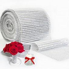 Carré de Ruban Strass Argenté en Acrylique 12x11cm pour la Création de Bijoux Fantaisie - DIY
